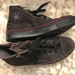 converse all star high tops with zipper on sides.